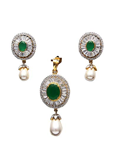 55Carat Pendant with Drop Earring for Women Girls Ladies Green Onyx Bollywood Look Locket Yellow Gold Plated Fashion Jewellery for Womens MRP 40-Green