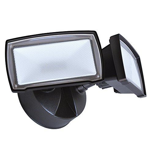 Good Earth Lighting Two Head LED Switch Controlled Security Flood Light - Bright White Light - 50,000 Hours Lamp Life - Direct Wire Installation - Energy Star - Bronze