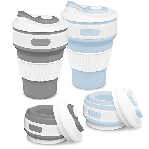 Zuzer Faltbare Tasse, 2pcs Tragbare Silikon Becher Reise Kaffeetasse Wiederverwendbar Faltbare Reisebecher Camping Klappbecher mit Deckel(Grau + Blau)