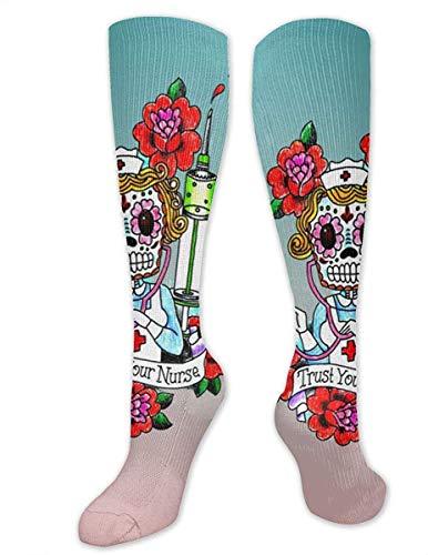 Love girl Enfermera Calavera de azúcar con calcetines de compresión de flores Calcetines altos hasta la rodilla de moda de poliéster para muslos 50 cm