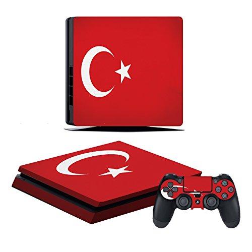 Kompatibel für Playstation 4 Slim Türkei Design PS4 Skin Schutzfolie Faceplate Aufkleber Sticker Cover Folie SET für Konsole + 2 Controller Skins ( Herstellung in Deutschland )