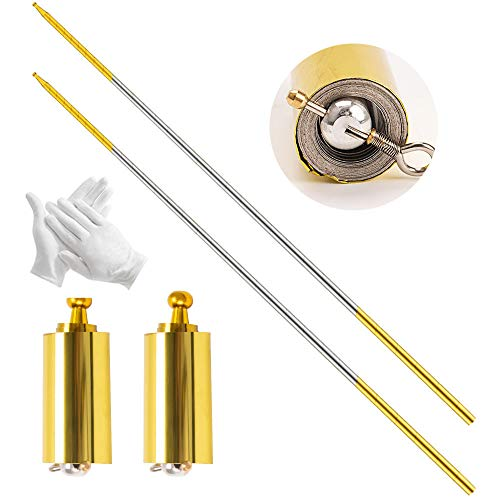 2 Pack Magic Pocket Staff Collapsible Metal Appearing Cane, Professional Magician Stage Portable Pocket Arts Staff Magic Tricks Accessories for Adults, Gifts, Magicians(Golden Silver, 43.3in)