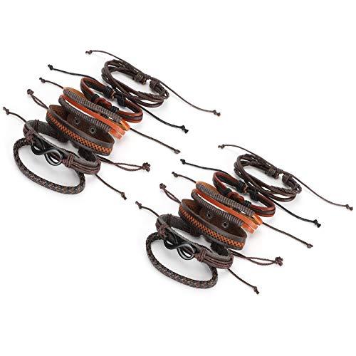 2 Sets Leather Bracelets, Pu Leather Woven Stainless Steel Lobster Clasp Bracelet for Men Women Cuff Bracelet Unisex Wrist Jewelry