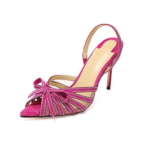 HRN Sandalias De Boca De Pescado De Tacón Alto para Mujer, Rhinestone Stiletto Bow, Zapatos De Tacones Altos del Partido Europeo Y Estadounidense,Rosado,39