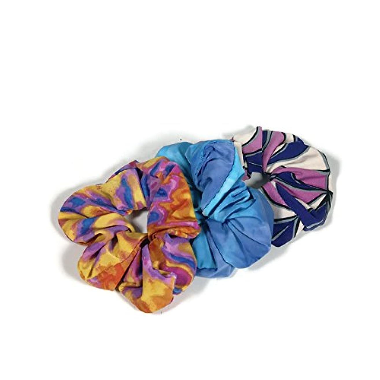 Set/3 Lycra Scrunchies Spandex Scrunchies Pink Blue White Yellow Hair Ties Athletic Hair Ties Swim Scrunchies Retro Scrunchies