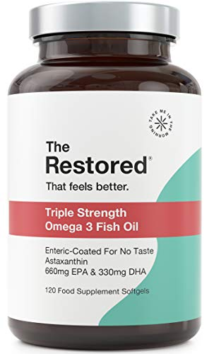 The Restored Triple Strength Omega 3, with Added Antioxidants, No Fish Taste, 1000mg Capsules