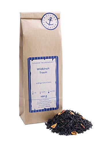Schwarzer Tee lose Wildkirsch Traum Kirsch, Rosenblüten Schwarztee kräftige Kirsch-Note 250g