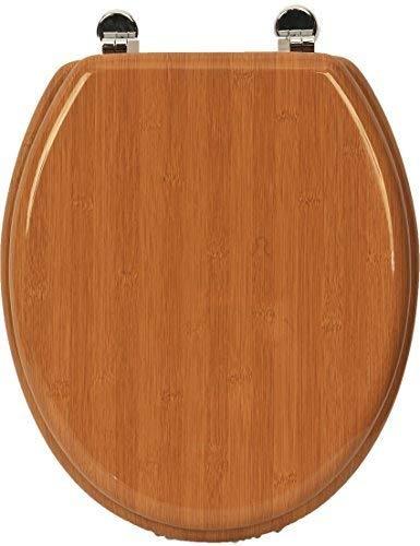 EVIDECO 4102195 Abattant WC ovale en bambou Marron 42,5 x 37,5 cm
