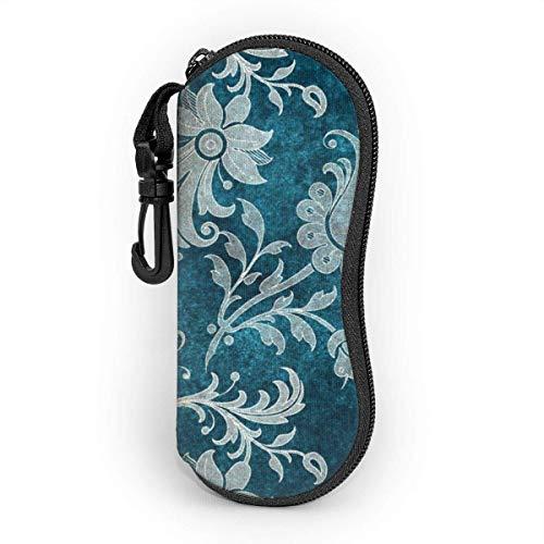 AOOEDM Estuche para gafas mosquetón, estuche blando para gafas de sol de neopreno portátil ultraligero con diseño de damasco floral verde azulado
