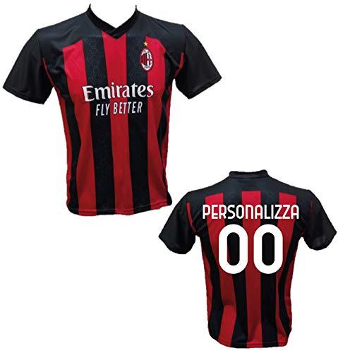 Maglia Calcio Milan Personalizzabile Replica Autorizzata 2020-2021 Bambino (Taglie 2 4 6 8 10 12) Adulto (S M L XL) (6 Anni)
