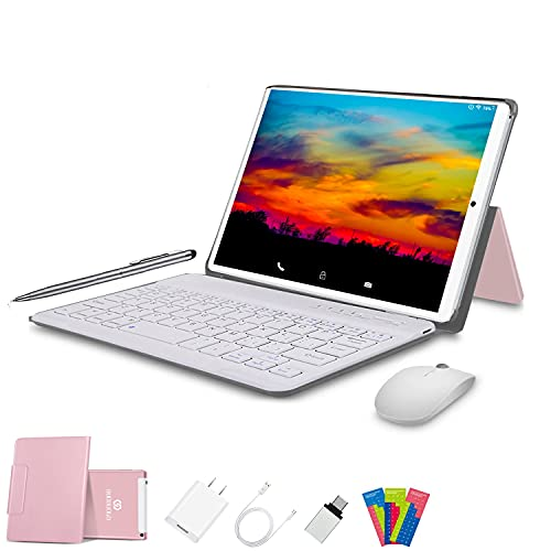Tablet 10 Pulgadas 4G FHD 64GB de ROM 4GB de RAM Android 10.0 Certificado por Google GMS Tablet PC Baratas Quad Core Tableta Batería 8000mAh Dual SIM 8MP Cámara WiFi,Bluetooth,GPS,OTG(Rosa)
