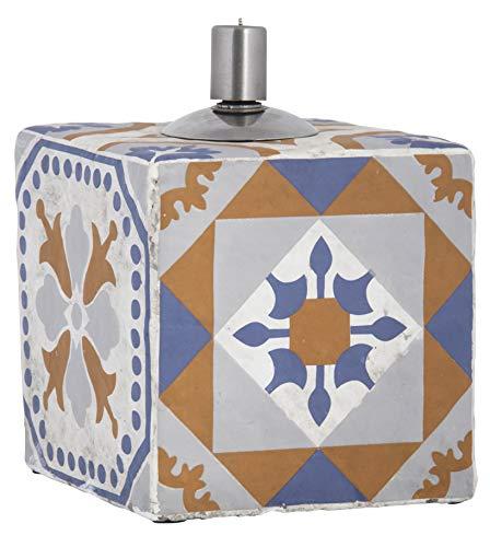 Esschert Design AC183 Öllampe für portugiesische Fliesen, Orange, Blau, Grau