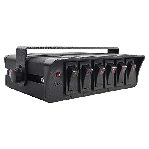Sundey Caja de Interruptores Basculantes de Encendido/Apagado de 6 Bandas con Luz LED Roja, Panel de Interruptores de 12-24 V 80 una para VehíCulos Automotores, Barcos, SUV Marinos