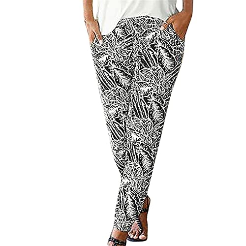 MFFACAI Women's Summer Lightweight Sweatpants with Pockets Elastic Waist Loose Fit Casual Pants Solid Color Slim Straight Leg Pants Oversize Drawstring Beach Pants Elastic Long Pants