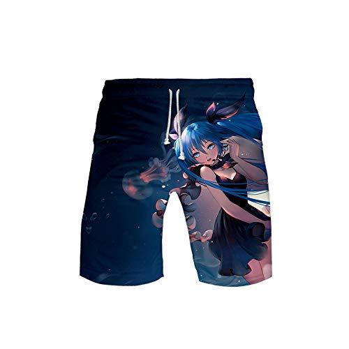 GOYING Anime Hatsune Miku Herren-Strandshorts, lockere, schnell trocknende Badehose Sommer-Kurzhose für Herren D-M