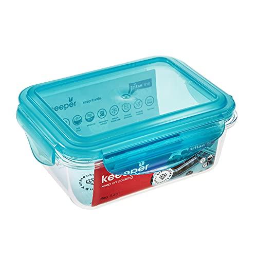 keeeper Caja para alimentos frescos, 14 x 11 x 6,6 cm, 0,45 l, Tino Tritan, Azul