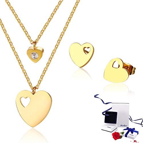 Richapex Juego de Joya Collar Mujer – Collar Corazón Melody – Cadena Baño de Oro – Dije Dorado…