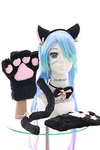 C-20-1 schwarz Katzen Pfoten Handschuhe Schwanz Halsband Ohren Haarreif Set Lolita Maid Cosplay
