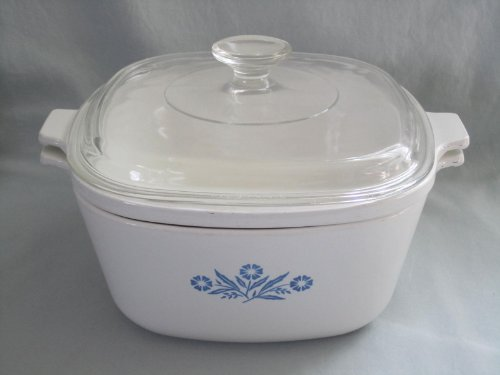 "3 Piece Set - Vintage 1960s Corning Ware "" Blue Cornflower "" 2 1/2 Quart Covered Double Boiler w/ Lid"