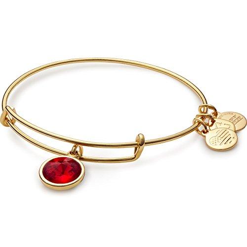 Alex and Ani 'Bangle Bar' July Imitation Birthstone Gold-Tone Expandable Bracelet