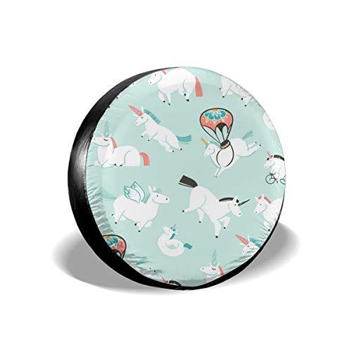 Usting Reifenabdeckung, Sonnenschutz und Regenschutz, Personalisierte Reifenabdeckung, weiß, Pegasus Einhorn Radfahren, (4 Größen optional), weiß, 35, 6 cm