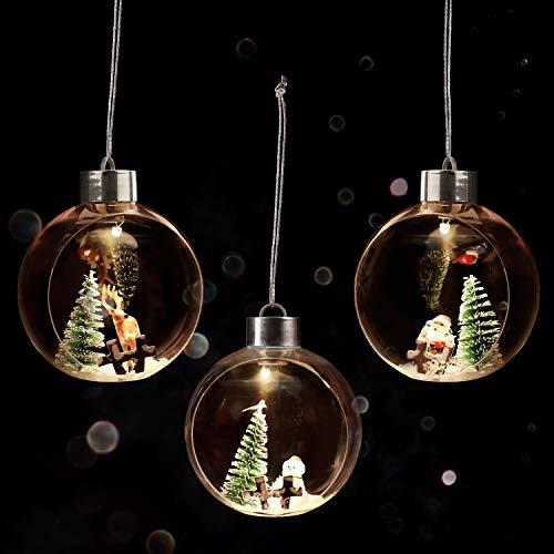 BELLE VOUS Bolas de Navidad (3 Piezas) 9,6 x 10,8 cm - Luces