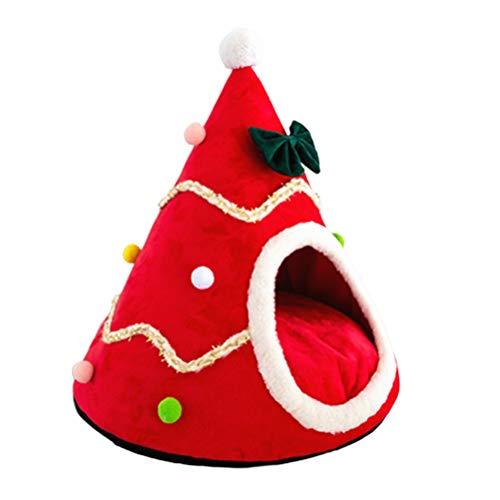 KENANLAN Animali Domestici Albero di Natale Cuccia per Gatti Letto per Cani Gatto, Cuccia per Gatti Piccola, Calda e Chiusa, Letto per Cani Yurt