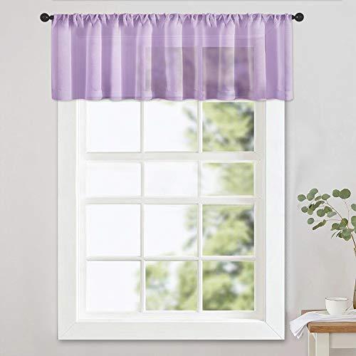 MRTREES Sheer Valances 54 x 16 inch Living Room Windows Voile Valance Bedroom Curtain Valances Sheer Rod Pocket Window Treatment Light Filtering 1 Panel Light Purple