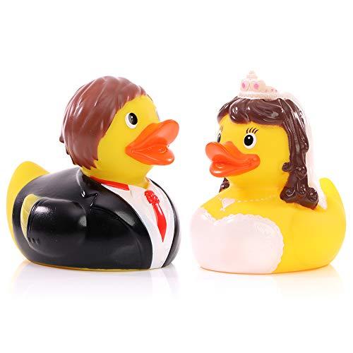 Schnabels Pato de baño para pareja de novios – Juego de 2 unidades – Regalo para boda fiesta de boda, compromiso, pareja de enamorados, marido y mujer – Juguete de pato de decoración para bañera