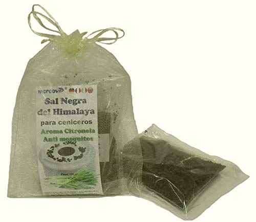 MERCAVIP Thermovip. Sal Negra del Himalaya para Ceniceros (Salt Range Pakistan). Aroma de Citronela Anti Mosquitos. Formato Ahorro 100gr.