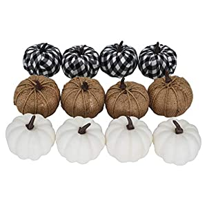 JEDFORE 12pcs Artificial White Pumpkins Burlap Pumpkins and Plaid Pumpkins Assorted Fake Harvest Pumpkins for Fall Wedding Halloween Autumn Thanksgiving Festival Party Decoration Photography Prop