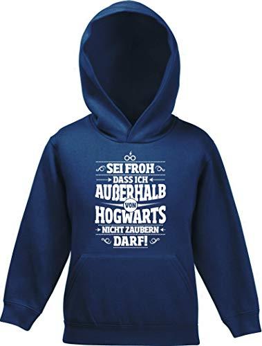 ShirtStreet Fanartikel Fan Kult Film Kinder Hoodie Kapuzenpullover Mädchen Jungen Außerhalb von Hogwarts, Größe: 140,Navy