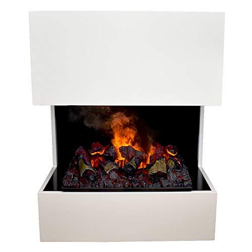 GLOW FIRE Kästner Elektrokamin Opti Myst Cassette 600, 3D Wasserdampf Feuer, elektrischer Standkamin mit Fernbedienung   Regelbarer Flammeneffekt, 70 cm, Weiß