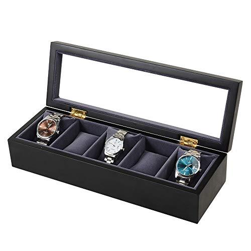 Caja de reloj extraíble 5 Ranura de madera exhibición de la joyería del reloj Caja de regalo de almacenaje con tapa de cristal caja de reloj caja de reloj de madera Soporte para reloj con tapa de vidr