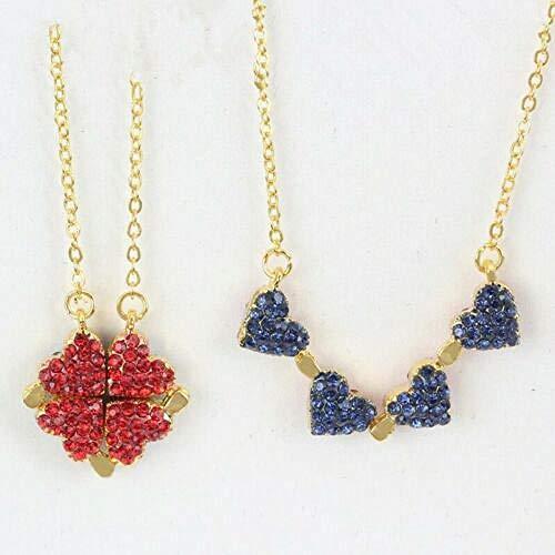Colar de trevo de quatro folhas da sorte com pingente conversível em forma de coração e trevo de quatro folhas e coração 2 em 1 dupla face dobrável - dourado vermelho e azul