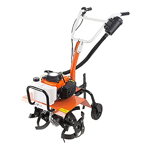 QILIN Benzin Motorhacke, 2 Takte / 4 Takte Micro Bodenbearbeitungsmaschine, Benzin Bodenfräse/Grubber, Bodenbearbeitungsbreite 43cm, Komplettes Zubehör