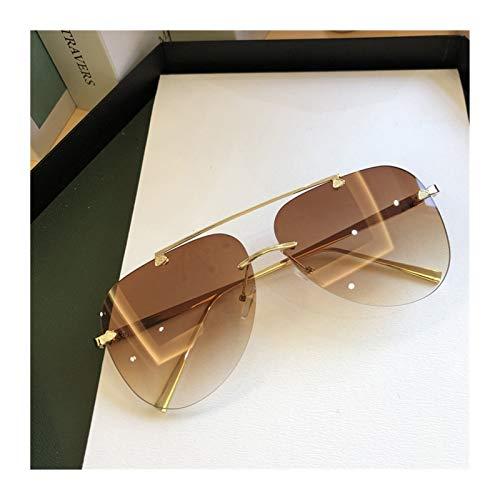 YWSZY Gafas de Sol, Gafas De Sol De Aleación Sin Montura para Hombres Y Mujeres, Gafas Degradados, Gafas De Sol Ovaladas De Metal (Lenses Color : Gold Brown)
