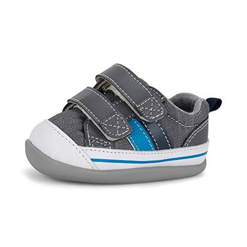 See Kai Run Boy's Russell INF First Walker Shoe, Gray Denim, 3 M US Infant