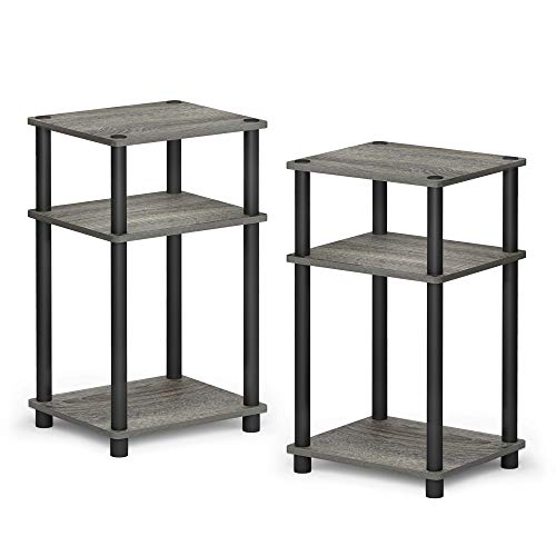 FURINNO Just 3Tier TurnNTube 2Pack End Table French Oak Grey/Black