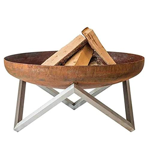 N / A Large Fire Pit, Rusty Style Corten Steel Brazier Heater, Multifunctional Camping Bowl BBQ, For Indoor Outdoor Garden Patio Grill (Size : 50cm)