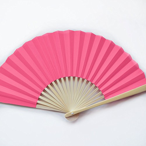 "Quasimoon 9"" Fuchsia/Hot Pink Paper Hand Fans for Weddings, Premium Paper Stock (10 Pack) by PaperLanternStore"