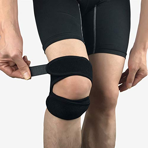 Kniebandage, offene Patella-Kniebandage für Männer und Frauen, voll verstellbare Neopren-Kniebandagen, Zwei-Wege-Kompression, Kniebandage, Gurt für Laufen, Gelenkschmerzen, Sport, Walking, Schwarz