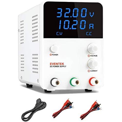 eventek 0-32V/0-5,2A(10,2A) Alimentatore da Laboratorio DC Regolabile Stabilizzato, Alimentatore da Banco (KPS3010DF)