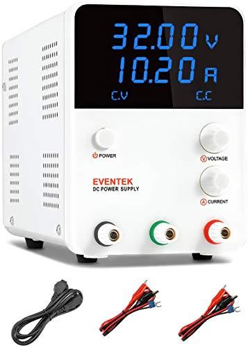 eventek 0-32V/0-10,2A Alimentatore da Laboratorio DC Regolabile Stabilizzato, Alimentatore da Banco