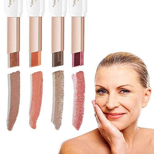 WENSUNNIE Glitter Shimmer Gradient Eyeshadow Makeup Stick Set for Older Women & Mature Skin, Double Color Brown And Metallic Cream Eyeshadow Stick, Long Lasting Waterproof Smoky Eye Shadow Pencil Crayon (4Pack)