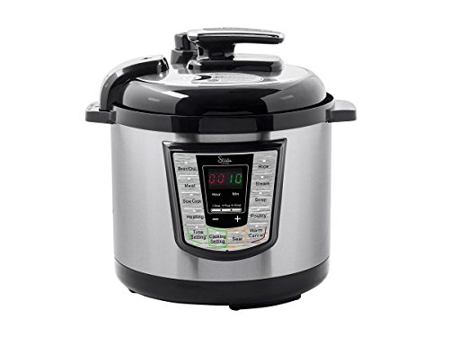 Monoprice Strata Home All-in-One Pot 1000W Electric Pressure Cooker - (121595),Silver/Black