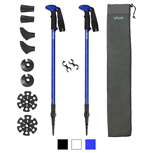 Vive Walking Sticks for Hiking - Collapsible Aluminum Trekking Pole - Lightweight and Adjustable Height - Foldable for Men, Women, Senior and Elderly - For Camping and Backpacking Includes Bag (White)