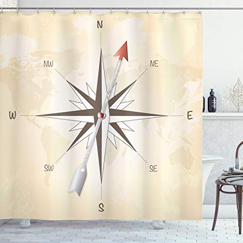 Ambesonne Compass Shower Curtain, Compass Rose with Arrow on Vintage Grungy Background Travel Navigation Artwork, Cloth Fabric Bathroom Decor Set with Hooks, 84' Long Extra, Taupe Cream