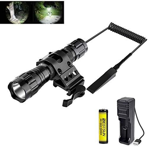 Taktische Taschenlampe, 1200 Lumen LED-Taschenlampe Wasserdichte Single-Mode-Jagdtaschenlampe mit Druckschalter Akku und Ladegerät inklusive