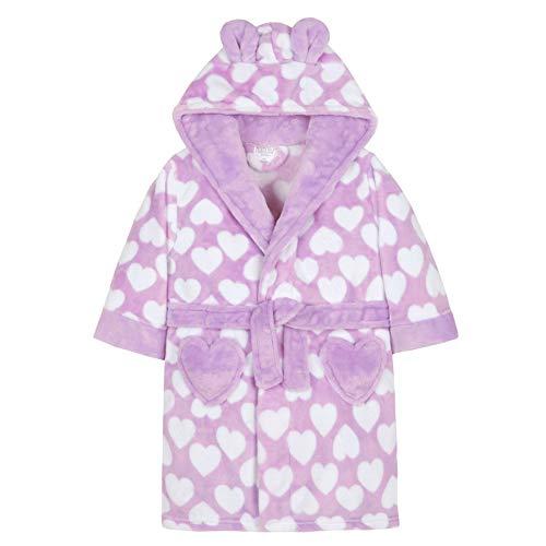 Style It Up Bademantel für Mädchen/Kinder, weicher Plüsch, Fleece, kuschelig, warm, Geschenk 2-13 Gr. 4-5 Jahre, Bademantel mit Kapuze, Lila/Violett